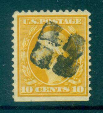 USA 1910-11 Sc#381 10c yellowWashington Perf 12 Wmk S/L FU lot68942