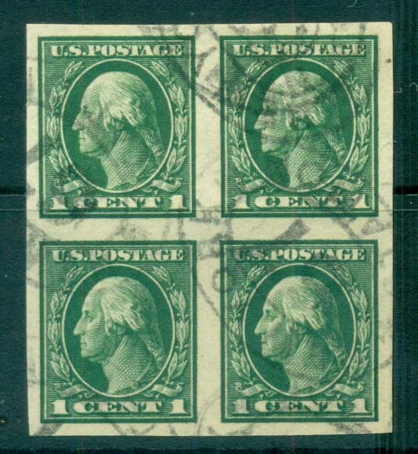 USA 1912 Sc#408 1c green Washington IMPERF Wmk S/L Blk 4 FU lot69326