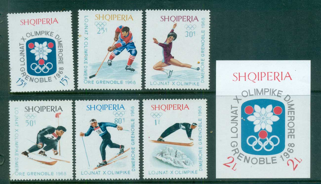 Albania 1967-68 Grenoble Winter Olympics + MS MUH lot69621