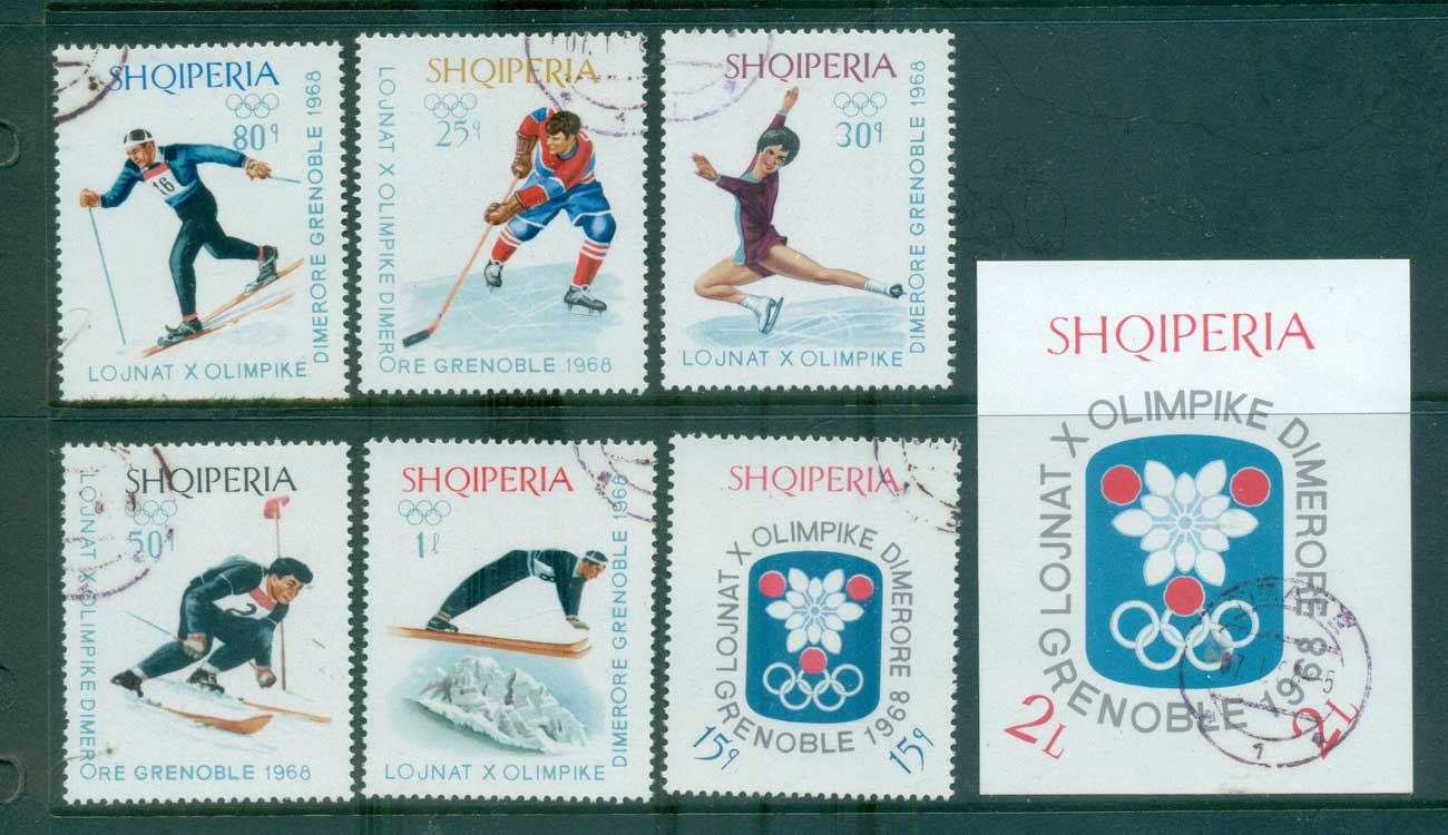 Albania 1967-68 Grenoble Winter Olympics + MS CTO lot69622