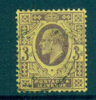 GB 1902-11 KEVII 3d dull purple/org yellow FU lot70197