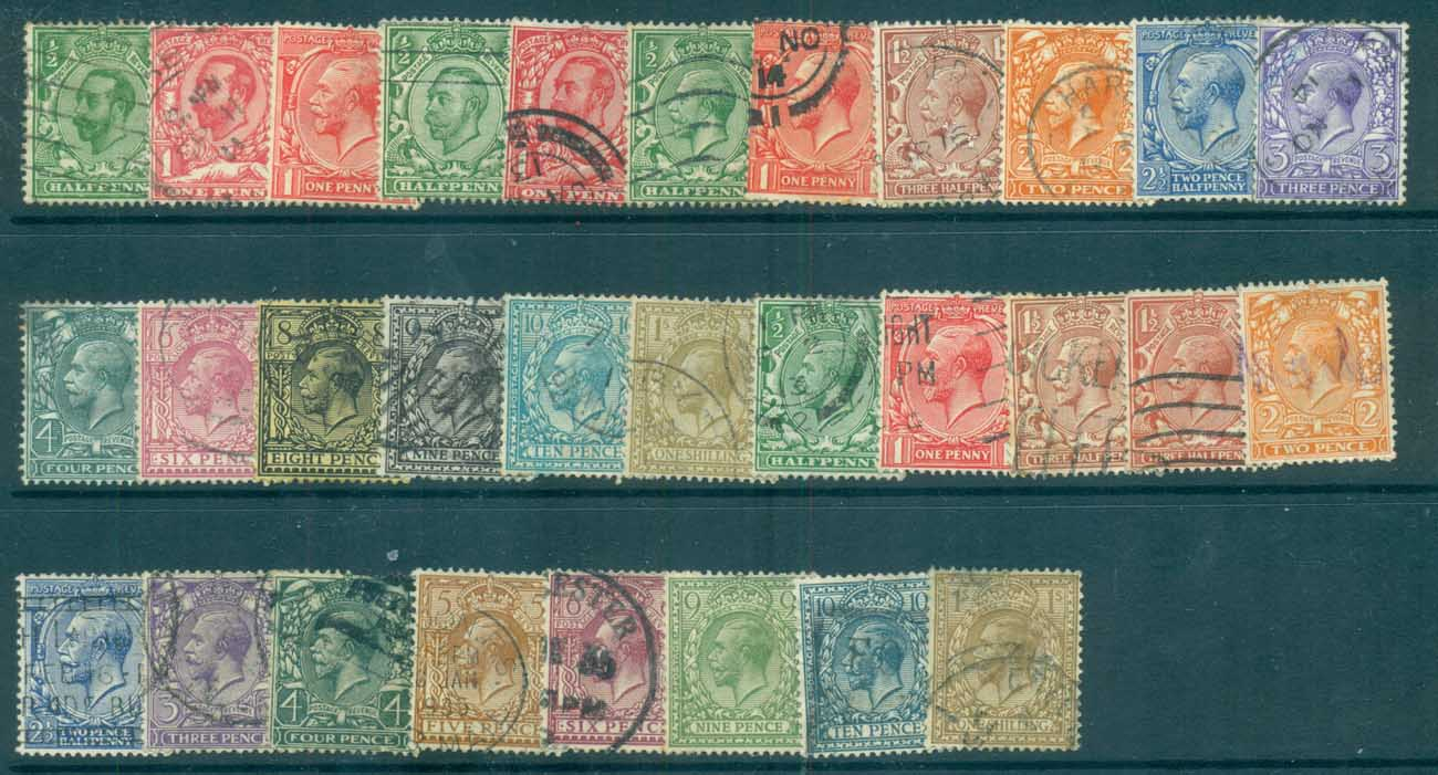 GB 1911-24 KGV Assorted Defins, both wmks FU lot70199