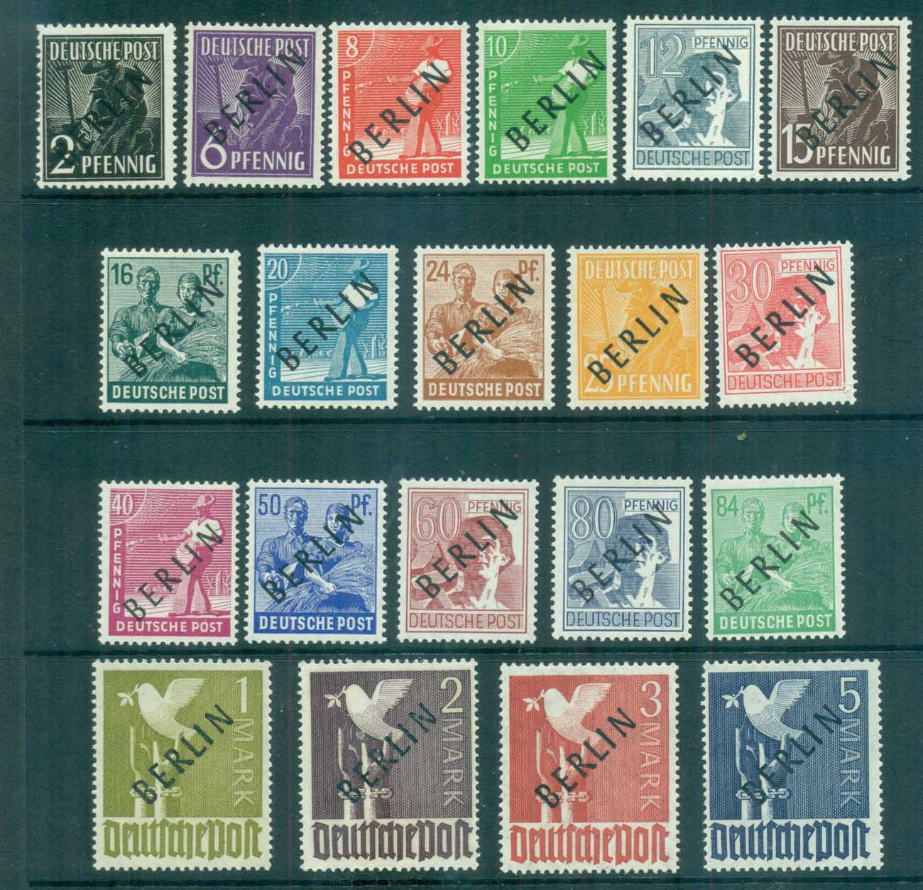 "Germany Berlin 1948 Black BERLIN Opts Expertised ""Rehfeld"" MUH lot70326"