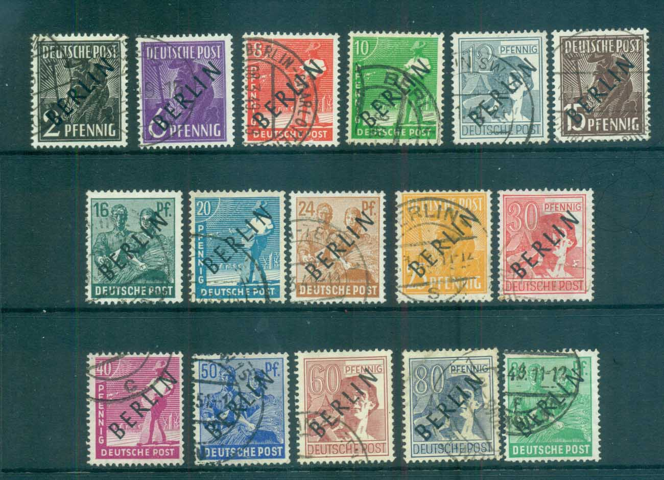Germany Berlin 1948 Black BERLIN Opts to 84pf FU lot70350