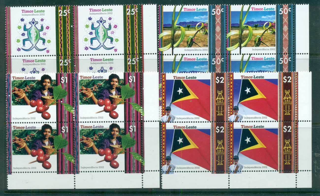 Timor-Leste 2002 Independence Cnr Blks 4 MUH lot70832