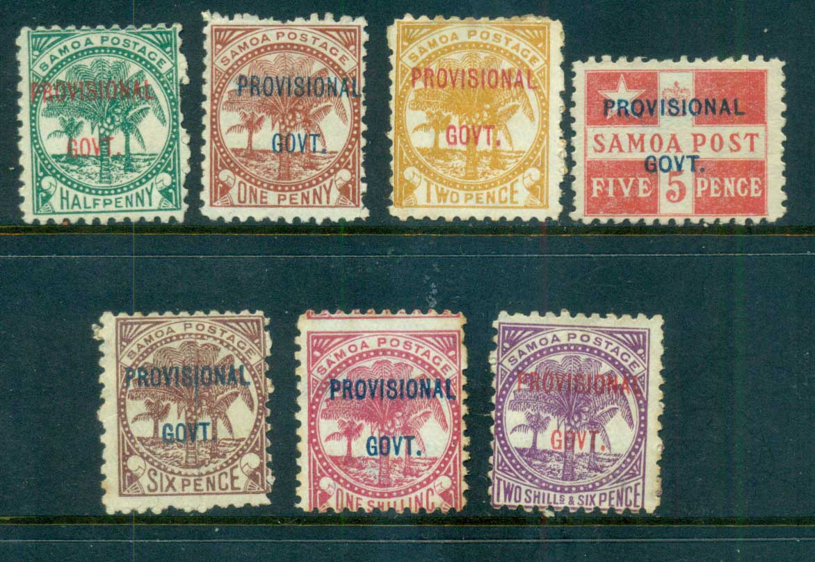 Samoa 1899 Provisional Opts. Assorted Oddments (tone spots)MNGFU lot70860