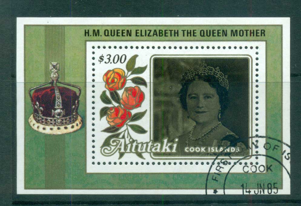 Aitutaki 1985 Queen Mother 85th Birthday $3 MS FU lot70878