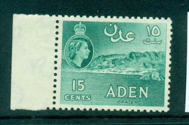 Aden 1953-59 Crater 15c blue green Perf 12x13.5 MUH lot71321