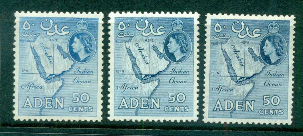 Aden 1953-59 Map 50c Perfs & shades MUH lot71335