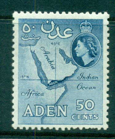 Aden 1953-59 Map 50c deep blue Perf 12 MLH lot71337