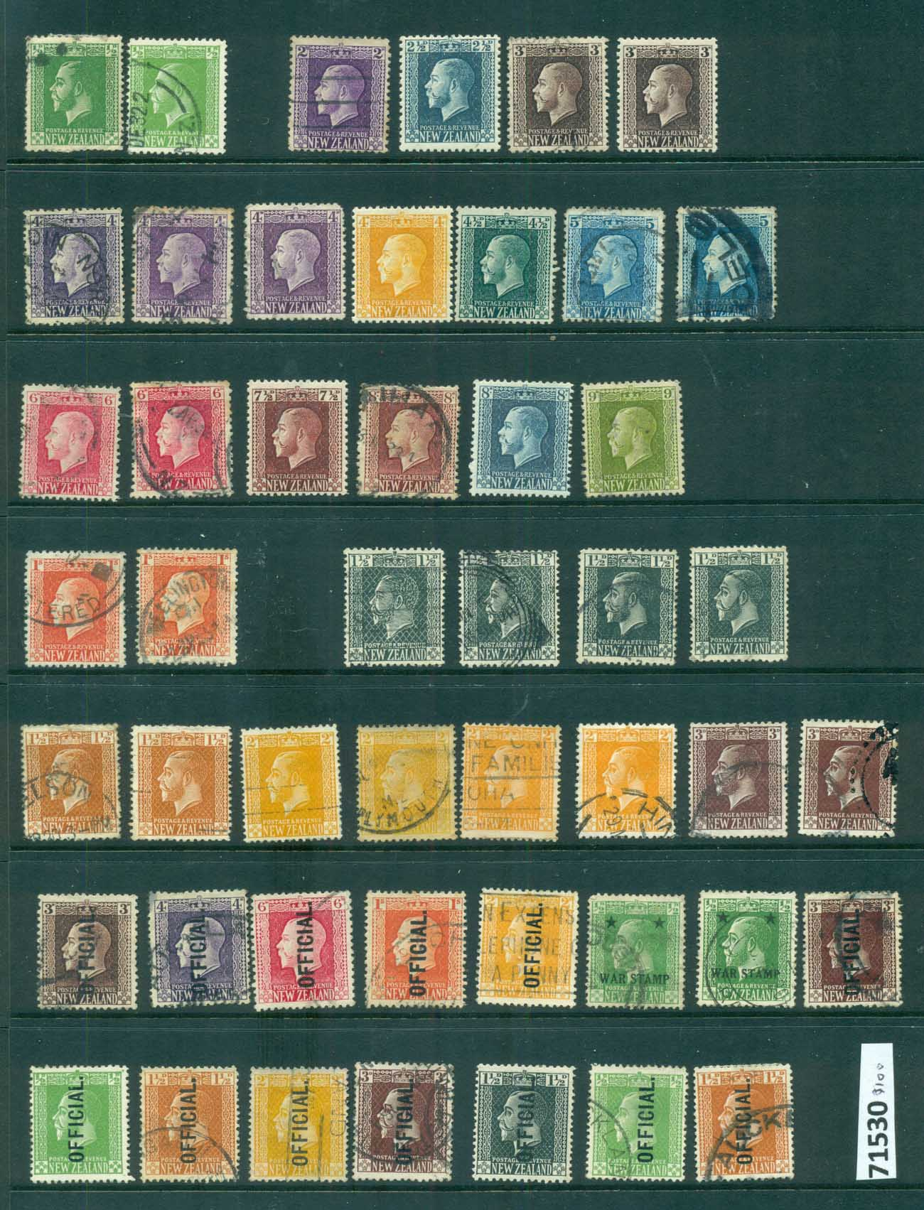 New Zealand 1915 on KGV Assorted oddments (faults) FU lot71530