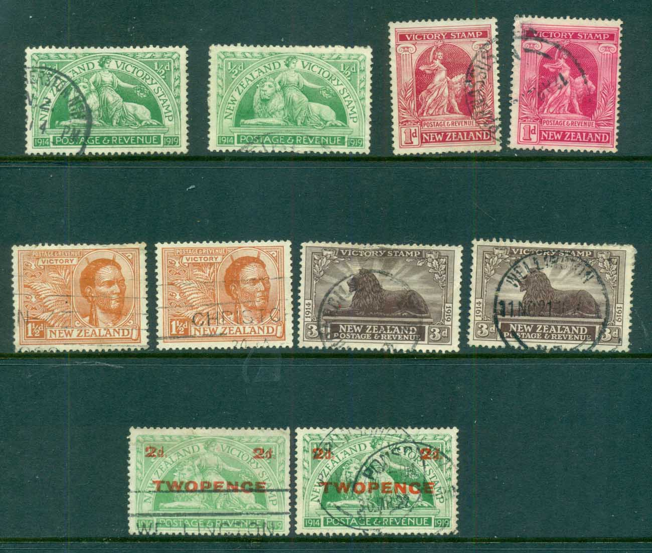 New Zealand 1920-22 Victory Issue Assorted oddments (faults) FU lot71531