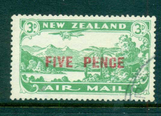 New Zealand 1931 Air mail 5d Opt Plane over Lake Manapouri MLH lot71535
