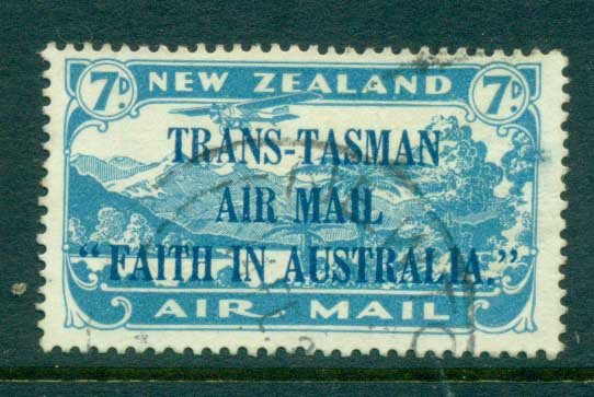 New Zealand 1931 Air mail 7d Trans-Tasman Opt Plane over Lake Manapouri FU lot71536