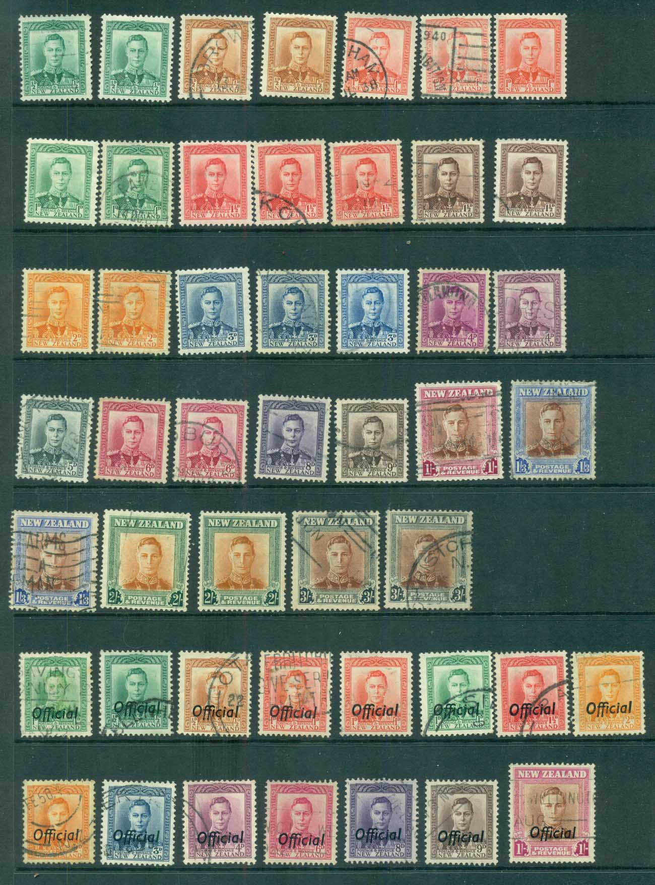 New Zealand 1938-47 KGVI Assorted inc Officials FU lot71545