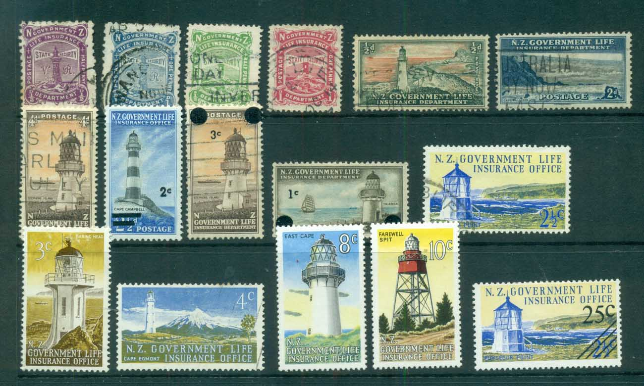 New Zealand 1900's on Life Insurance, Lighthouse Asst FU/MLH/MUH lot71682