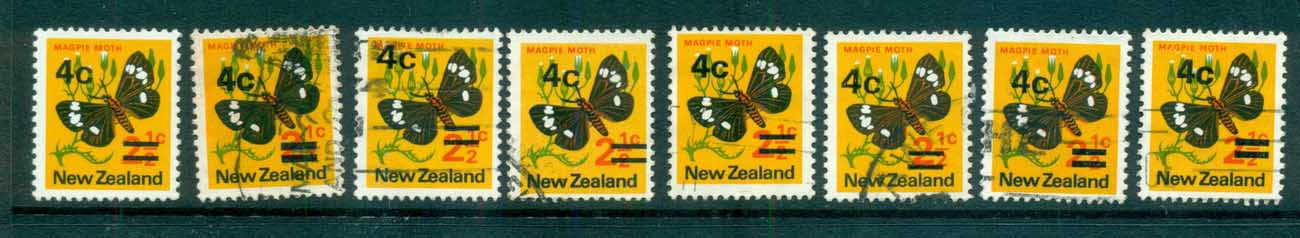 New Zealand 1971 4c Surcharges Ast FU lot71718
