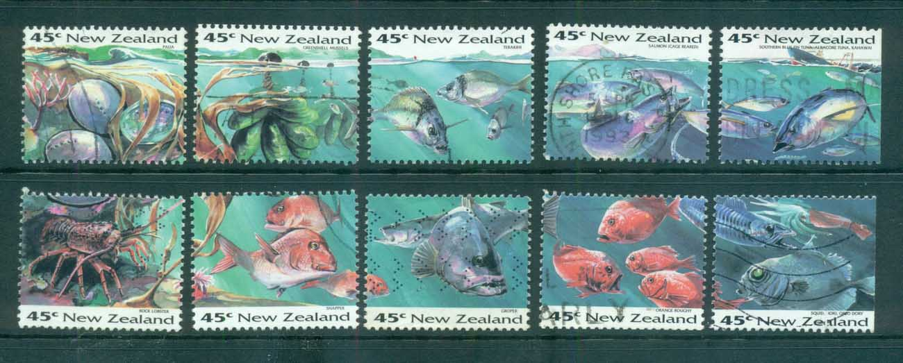 New Zealand 1993 Views, Marine life ex booklet FU lot71935