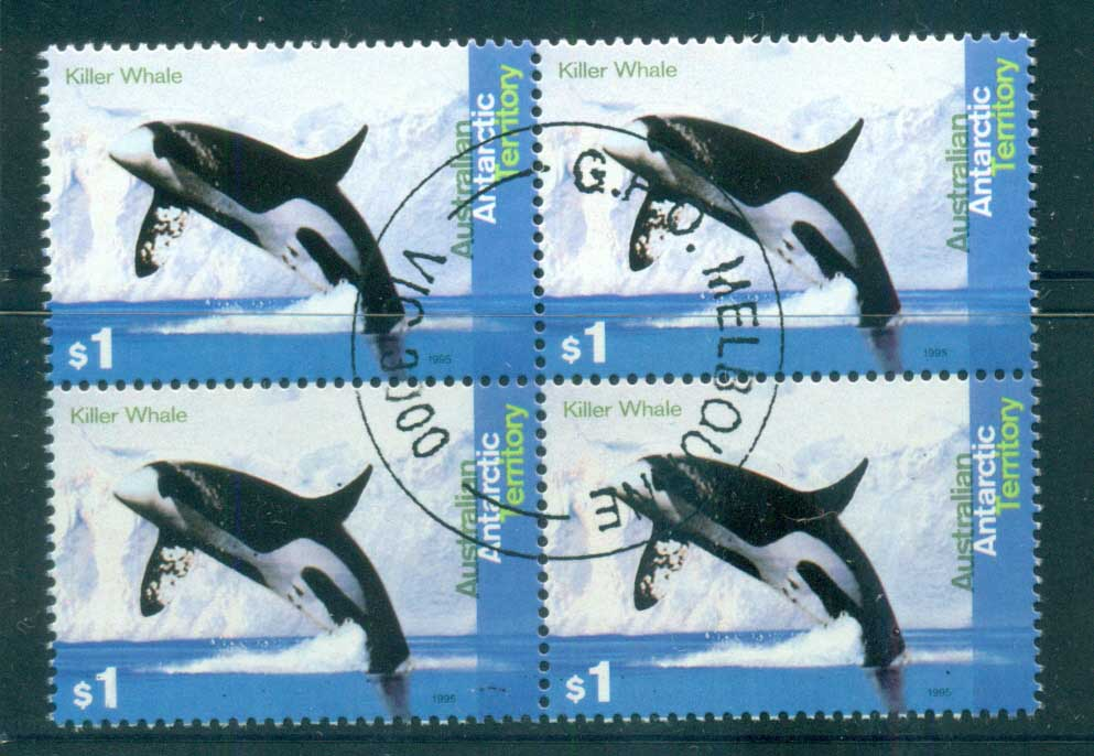 AAT 1995 Killer Whale $1 Blk 4 CTO lot72109