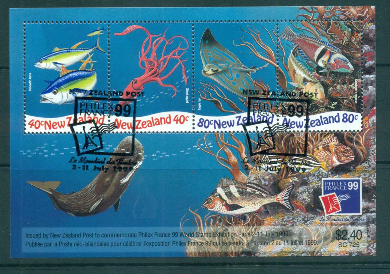 New Zealand 1998 Marine Life, PHILEXFRANCE '99 MS Show CTO lot72373