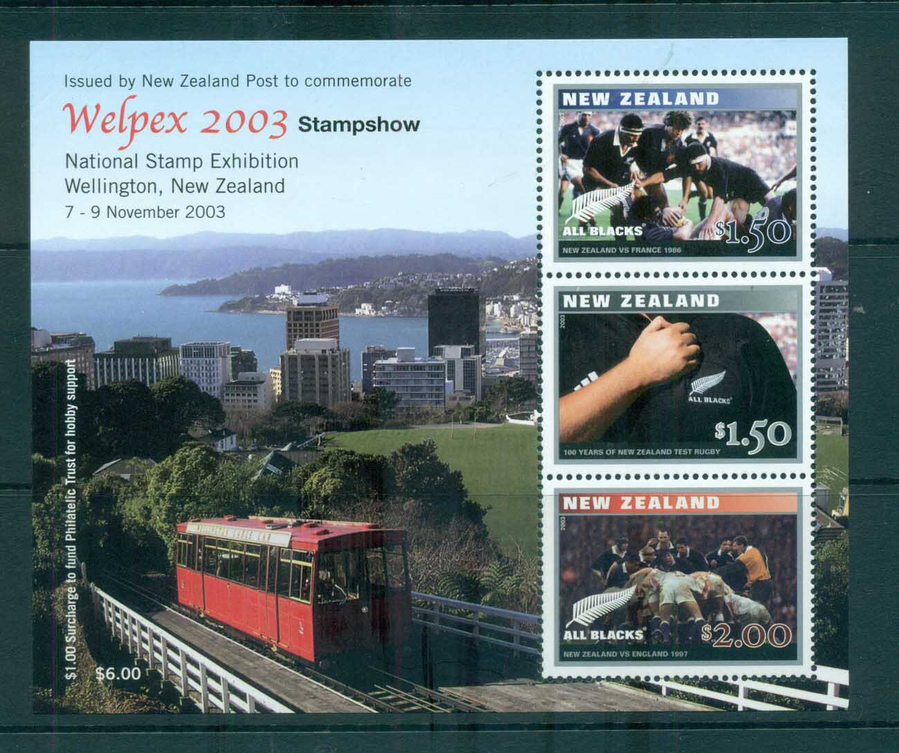 New Zealand 2003 Test Rugby Cent., Welpex '03 MS MUH lot72386