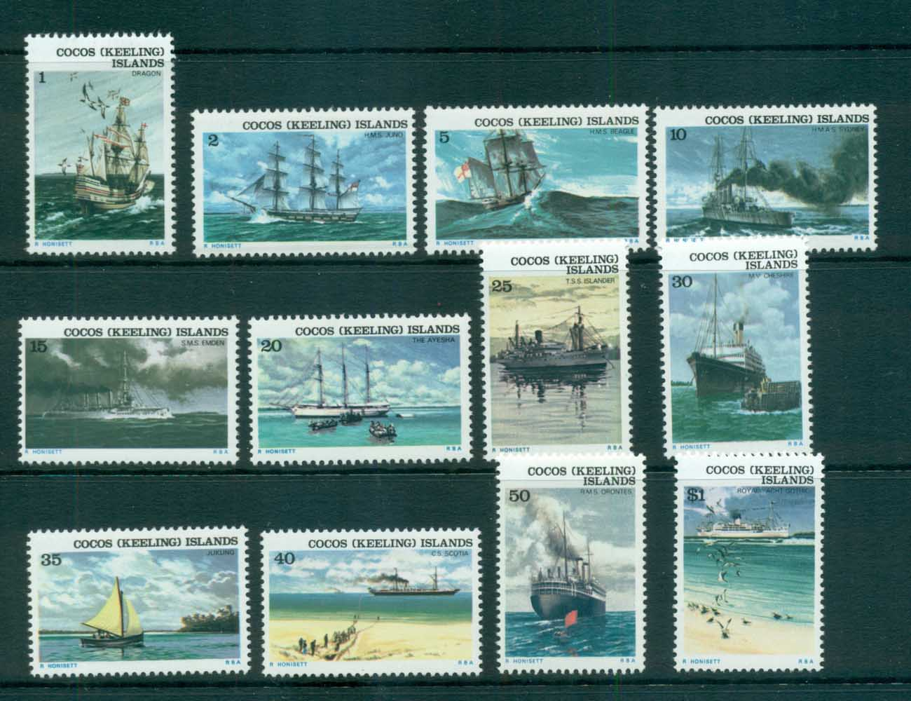 Cocos Keeling Is 1976 Ship Definitives MUH lot72402