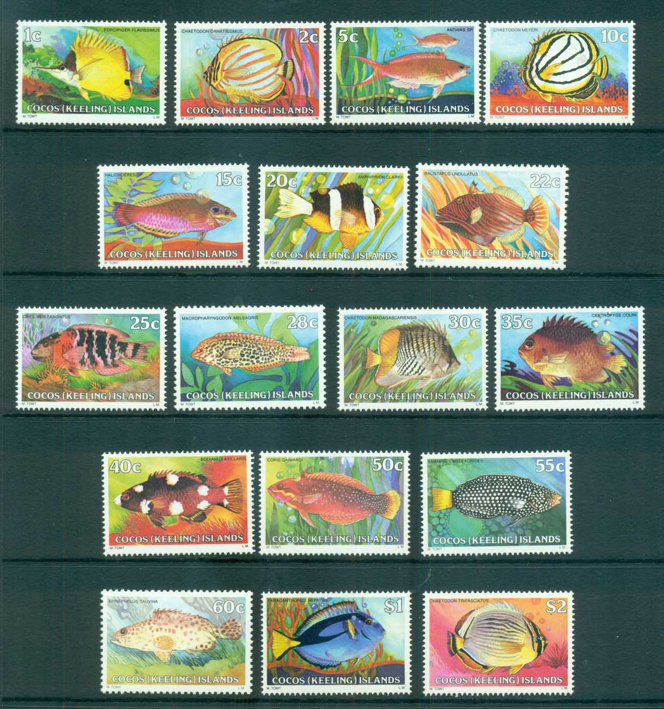 Cocos Keeling Is 1979-80 Fish Definitives MUH lot72404