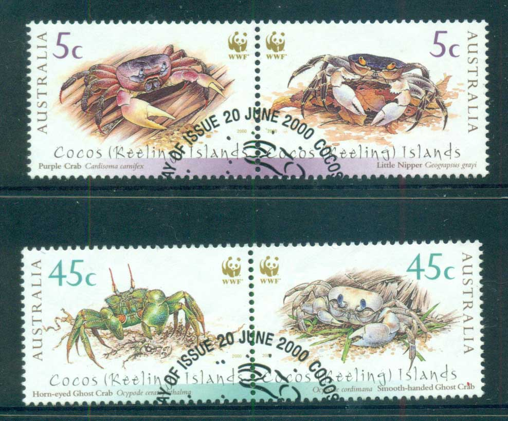 Cocos Keeling Is 2000 WWF Crabs prs FU lot72476