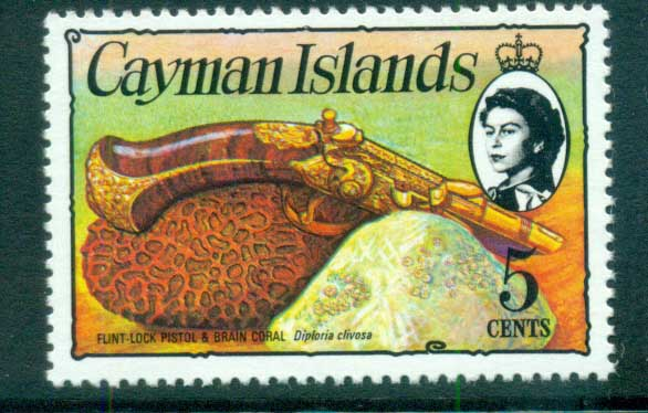 Cayman Is 1974-75 5c Pistol & Coral Defin MUH lot72536