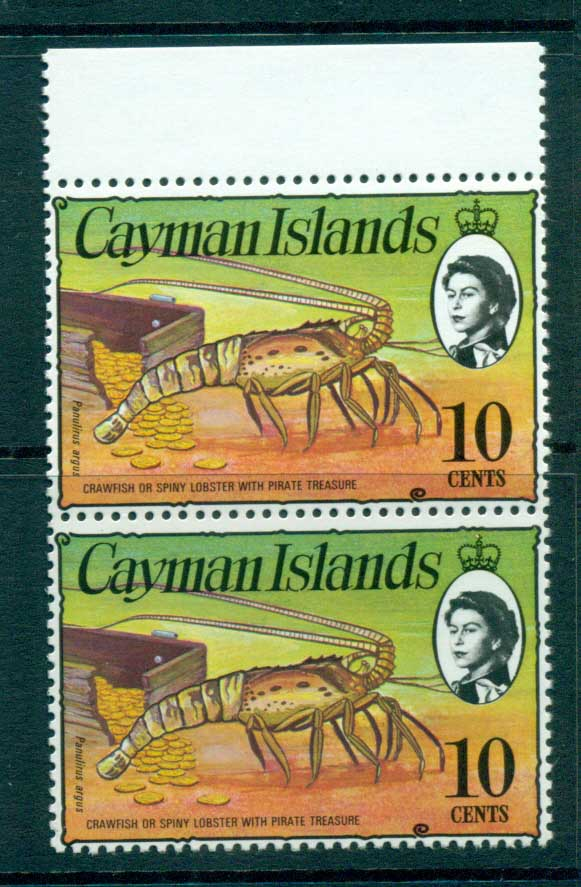 Cayman Is 1974-75 10c Spiny Lobster & Coins pr Defin MUH lot72539