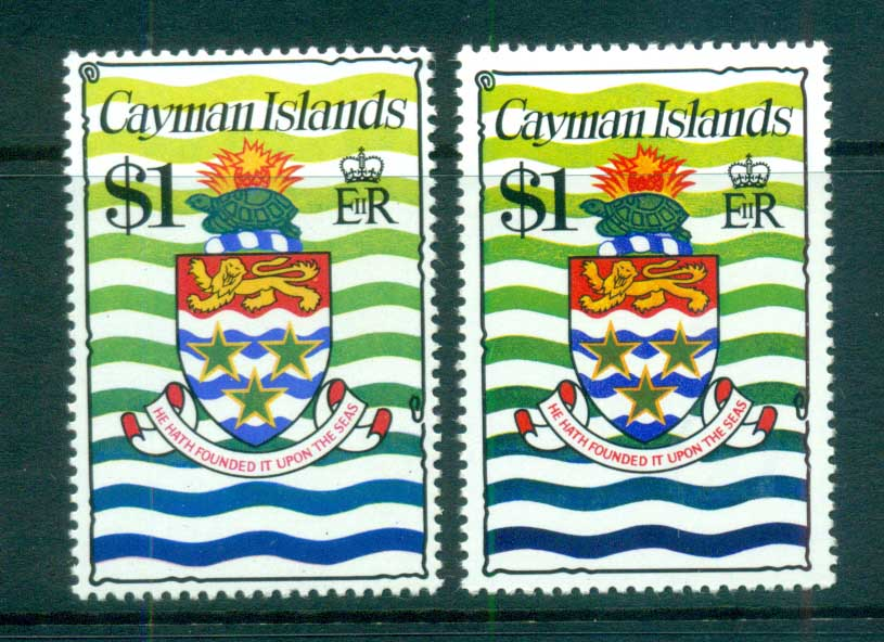 Cayman Is 1974-75 $1 Coat of Arms Defin 2 shades MUH lot72566