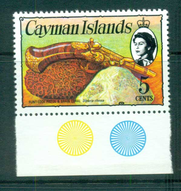 Cayman Is 1974-75 5c Pistol & Coral Defin MUH lot72570