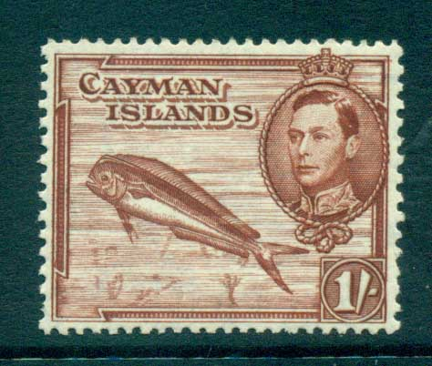 Cayman Is 1938-43 1/- Dolphin Fish Perf 13x11.5 MLH lot72660