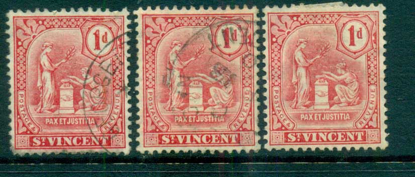St Vincent 1909 Peace & Justice Assorted 1d (faults) MH/FU lot72861