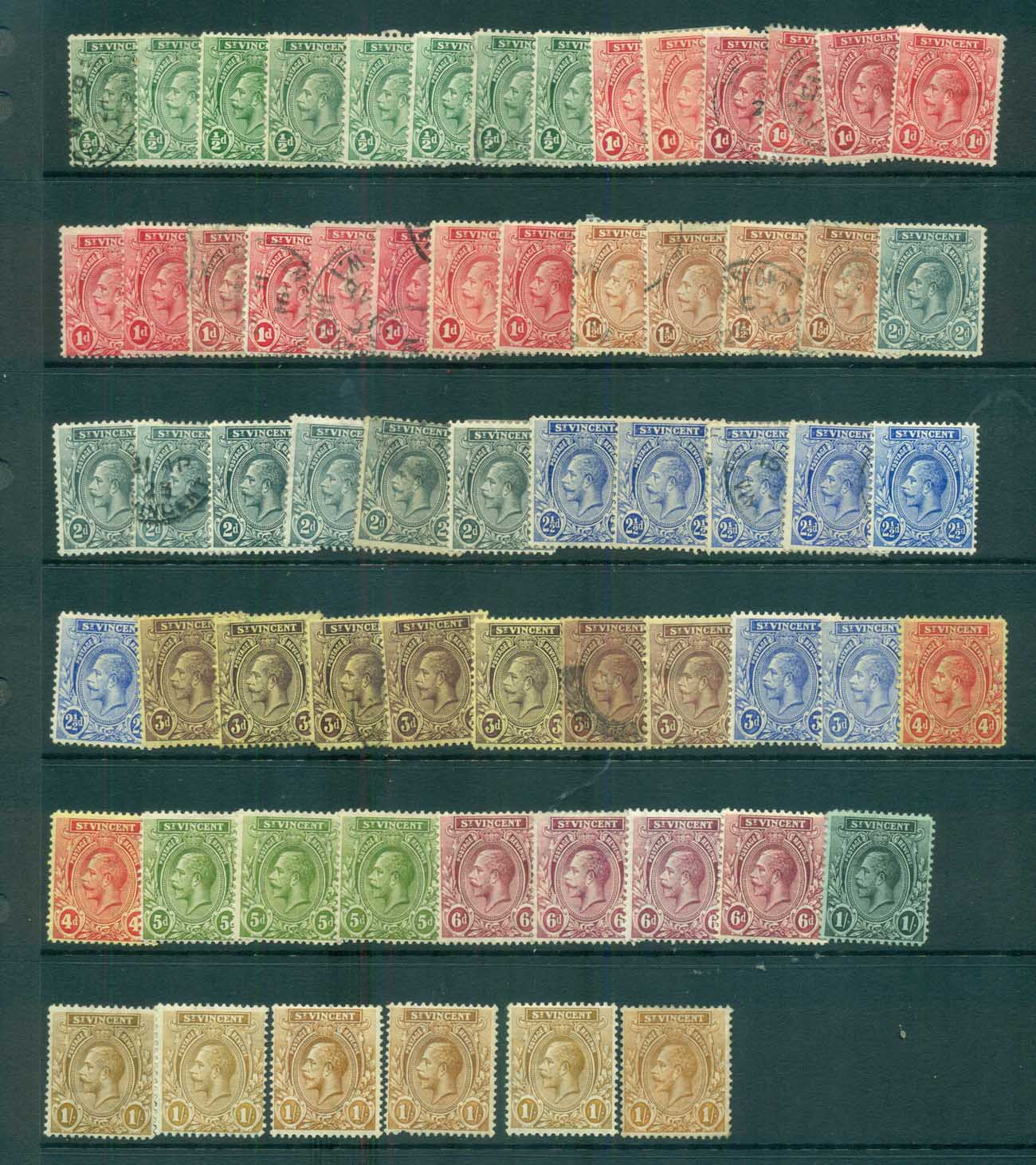 St Vincent 1913-32 KGV Assorted MLH/MH/FU lot72866