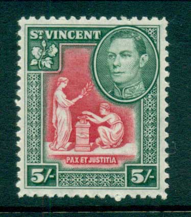 St Vincent 1938-47 KGVI Pictorial 5/- MUH lot72874