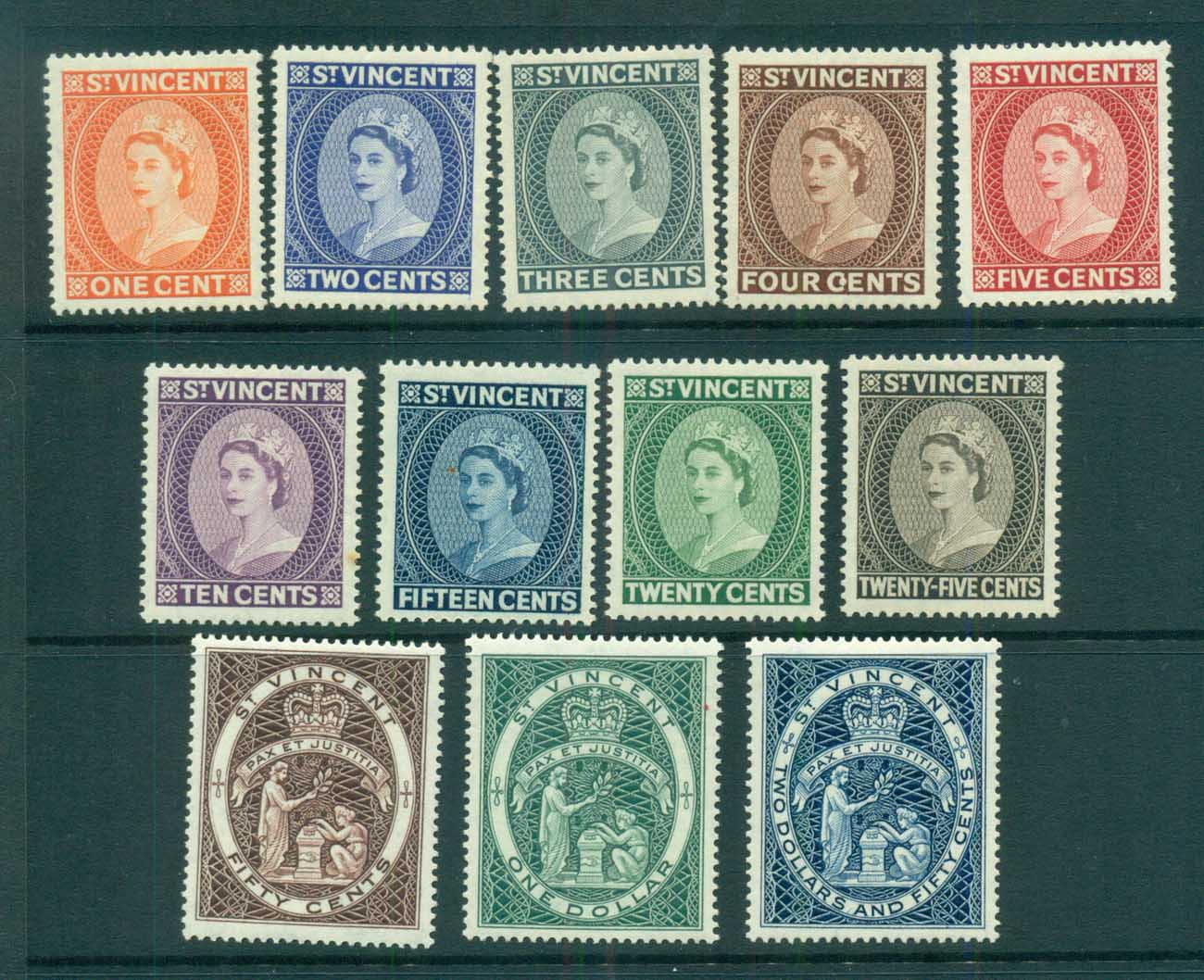 St Vincent 1955 QEII Defins Wmk Crown Script CA MUH lot72904