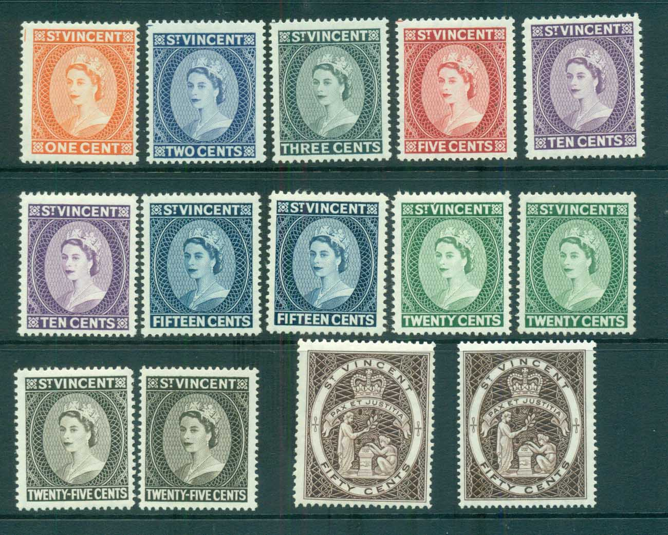 St Vincent 1964-65 QEII Defins Wmk Crown CA All Perfs MUH lot72910