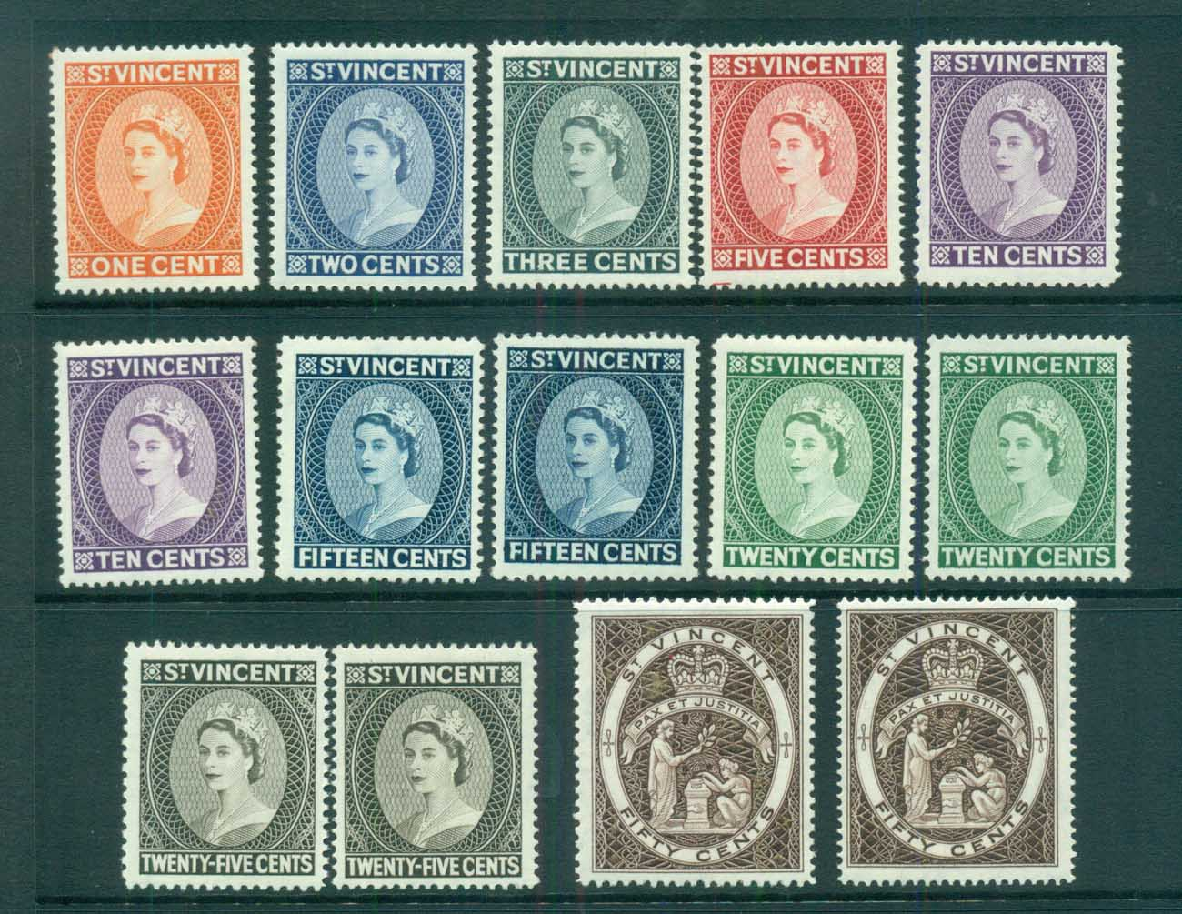 St Vincent 1964-65 QEII Defins Wmk Crown CA All Perfs MLH lot72911