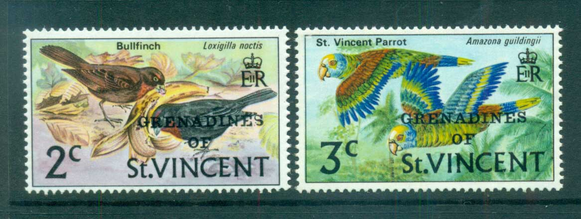 St Vincent Grenadines 1974 Bird Defins reissue vals MUH lot72945
