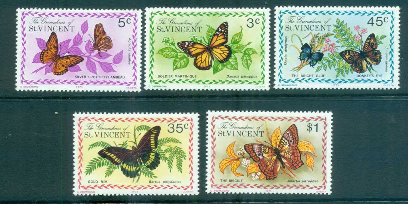St Vincent Grenadines 1975 Butterflies MUH lot72961