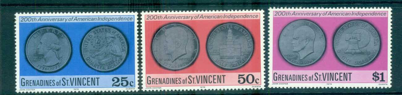 St Vincent Grenadines 1976 USA Bicentennial Coins MUH lot72967