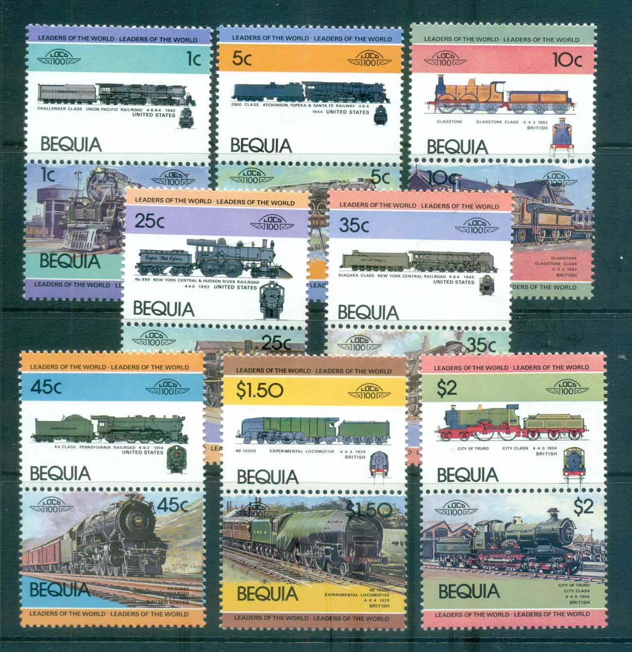 St Vincent Bequia 1984-87 LOW Locomotives & Trains I MUH lot73022