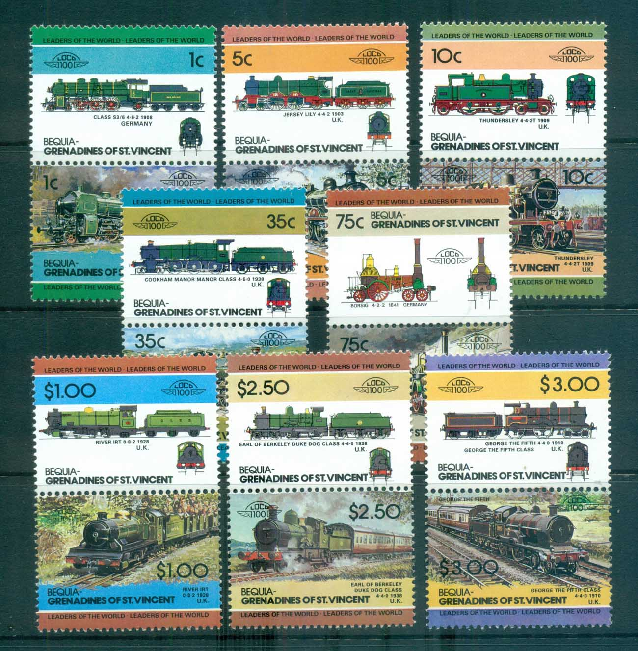 St Vincent Bequia 1984-87 LOW Locomotives & Trains II MUH lot73025