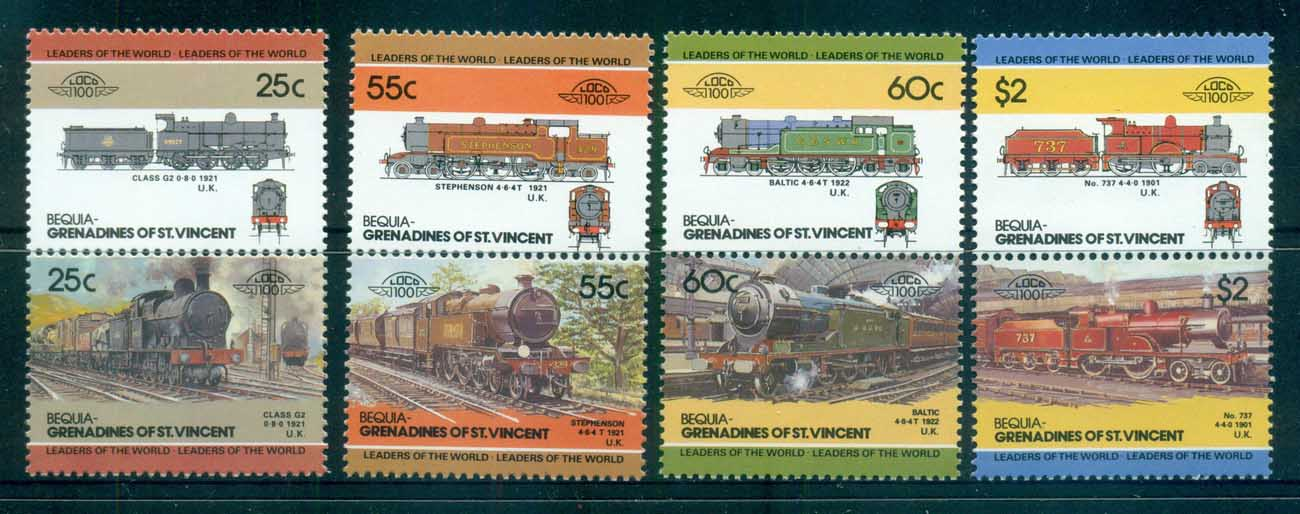 St Vincent Bequia 1984-87 LOW Locomotives & Trains III MUH lot73026