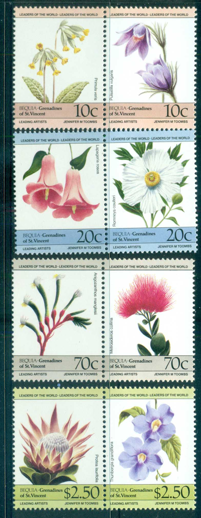 St Vincent Bequia 1985 Flowers MUH lot73027