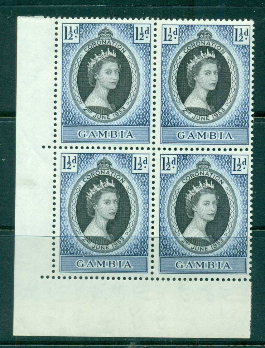 Gambia 1953 Coronation Blk 4 MUH lot73054