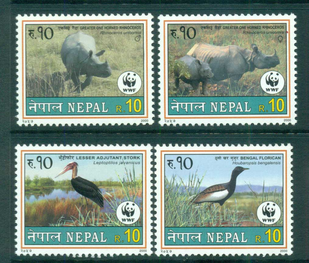 Nepal 2000 WWF Wildlife, Rhino, Birds MUH lot73152