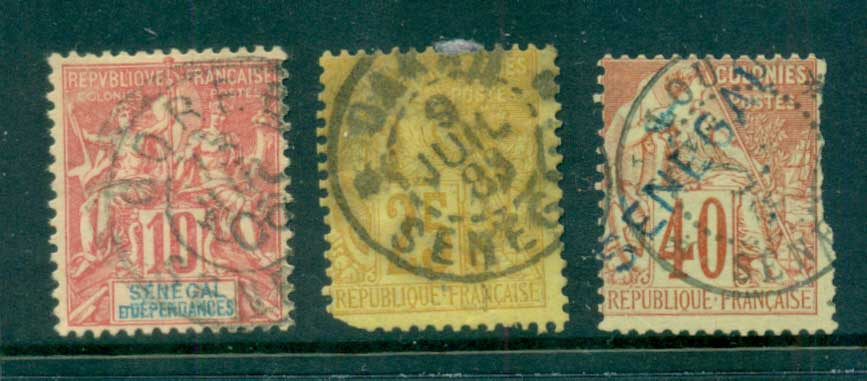 Senegal 1892-1900 Peace & Commerce France used in Senegal Asst(faults)FU lot73383