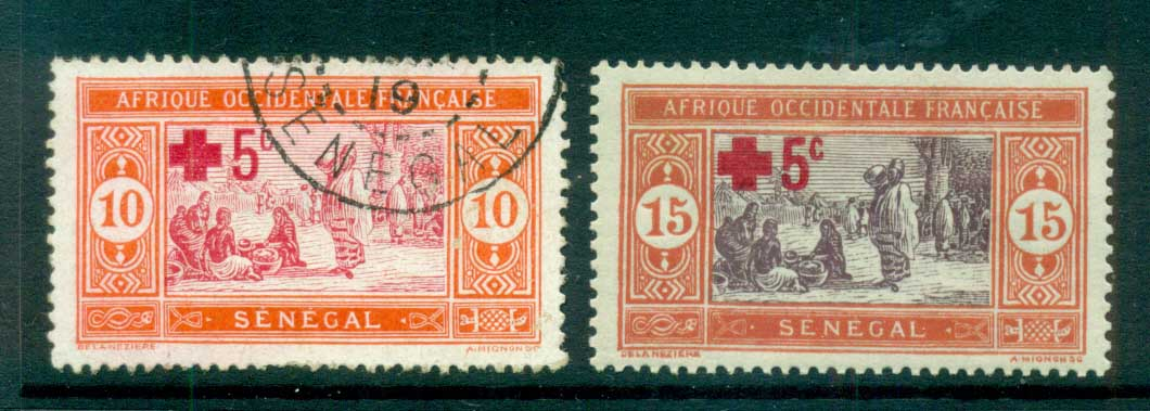 Senegal 1915-18 Pictorials Preparing Food Red Cross Opt MLH/FU lot73394